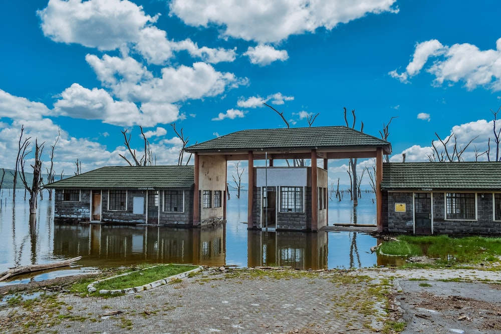 brown wooden house near body of water under blue sky during daytime