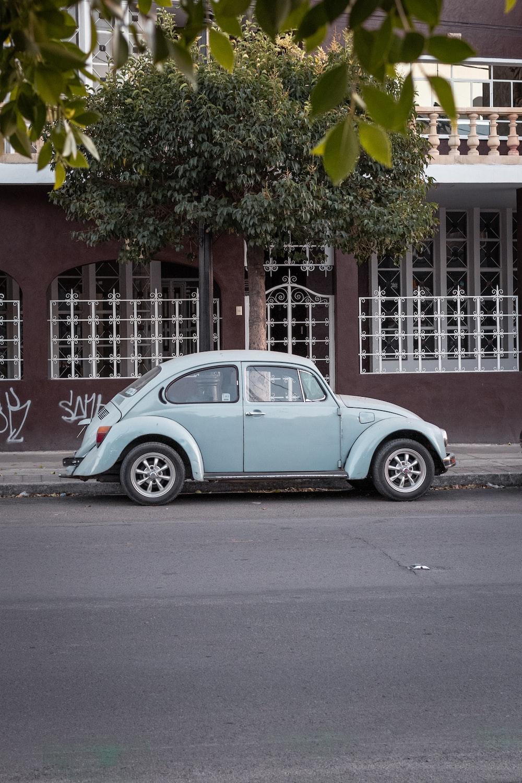 blue volkswagen beetle parked beside green tree during daytime