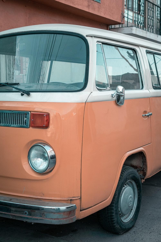 orange volkswagen t-2 van