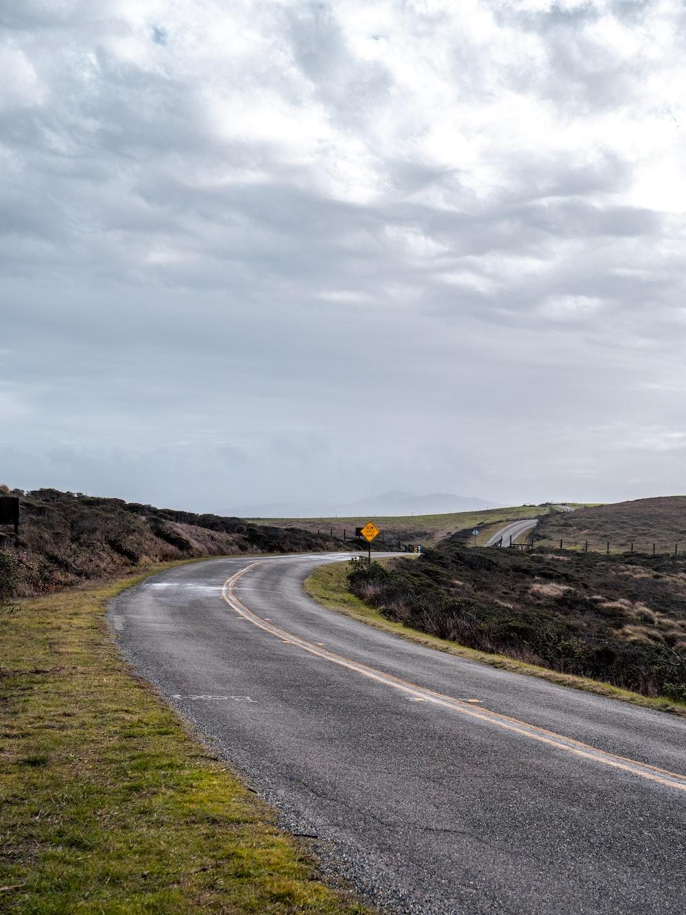 gray concrete road between green grass field under gray sky