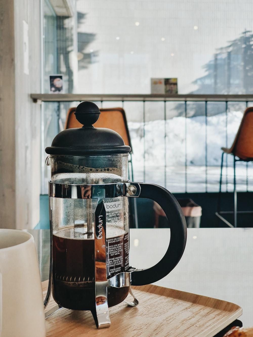 black and silver coffee press