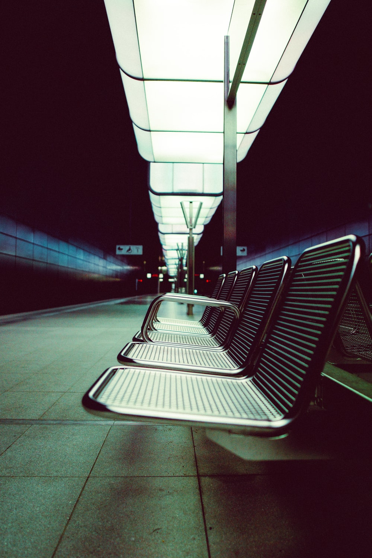 white and black train seats