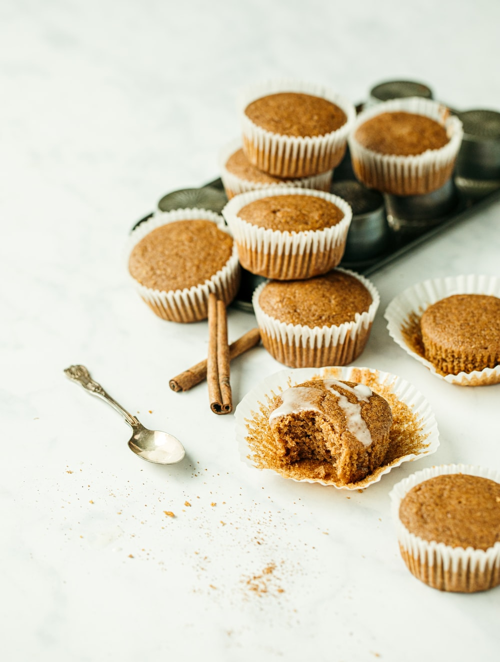 brown cupcakes on white table