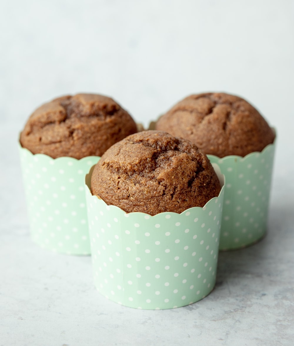 brown cookies on white and green polka dot cup