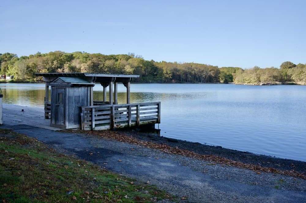brown wooden house on lake dock during daytime