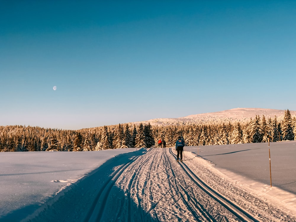 person walking on snow covered road during daytime