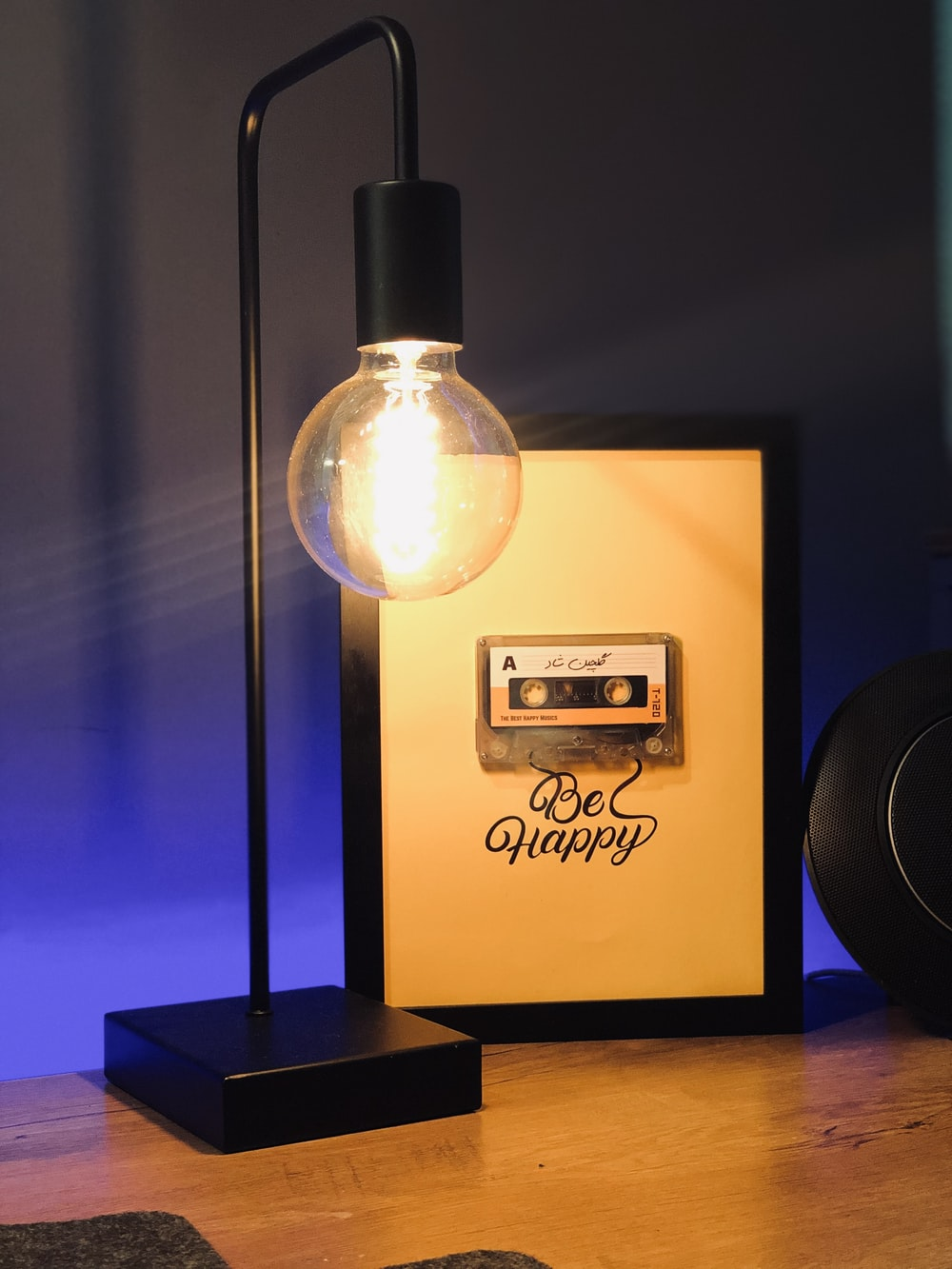 black and silver desk lamp