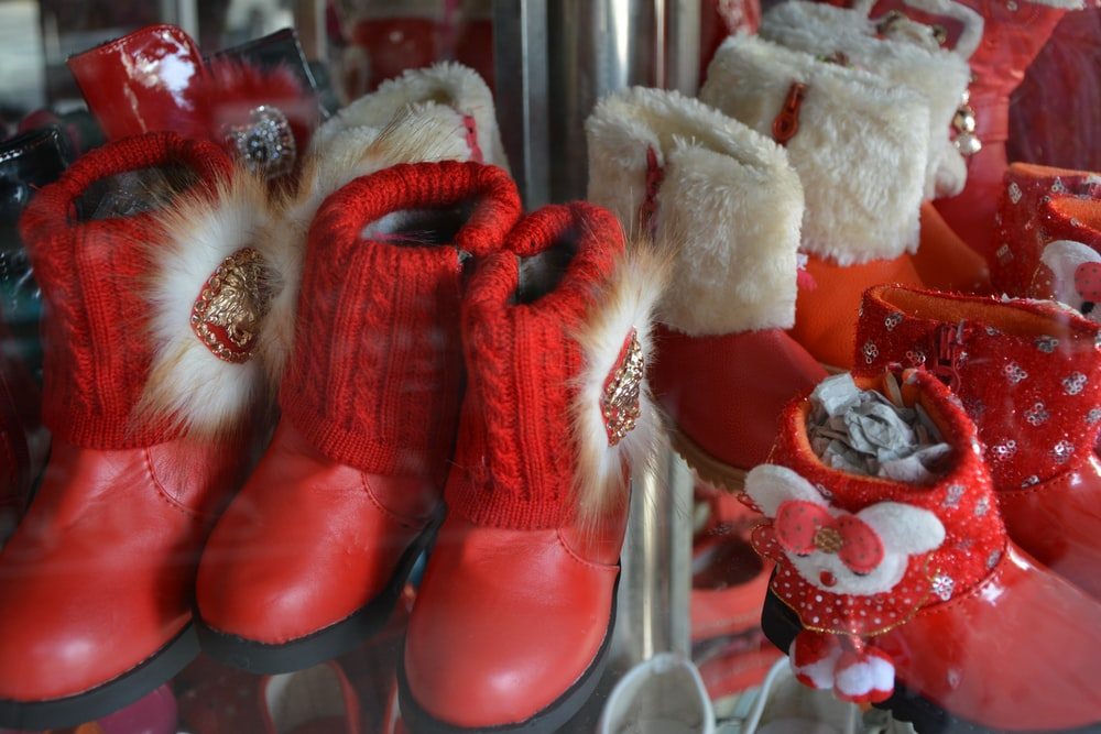 red and white fur boots