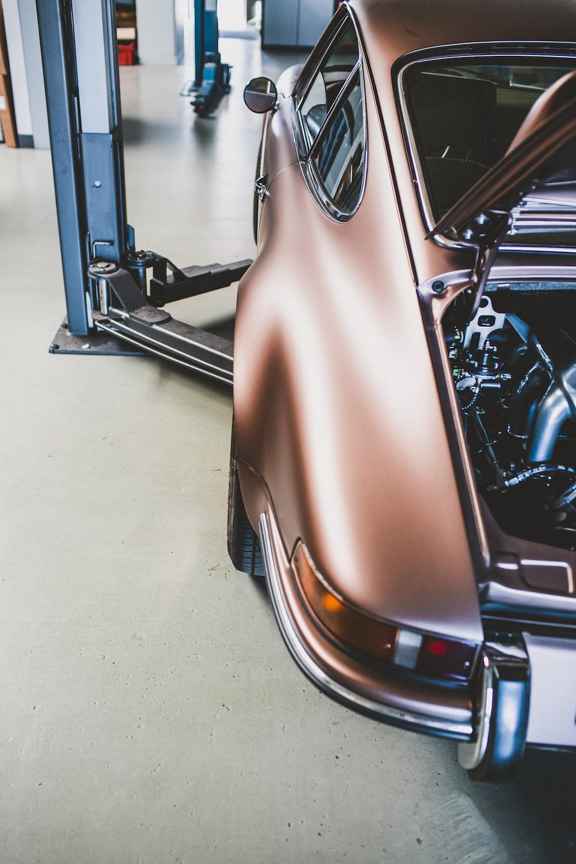 brown car in a garage