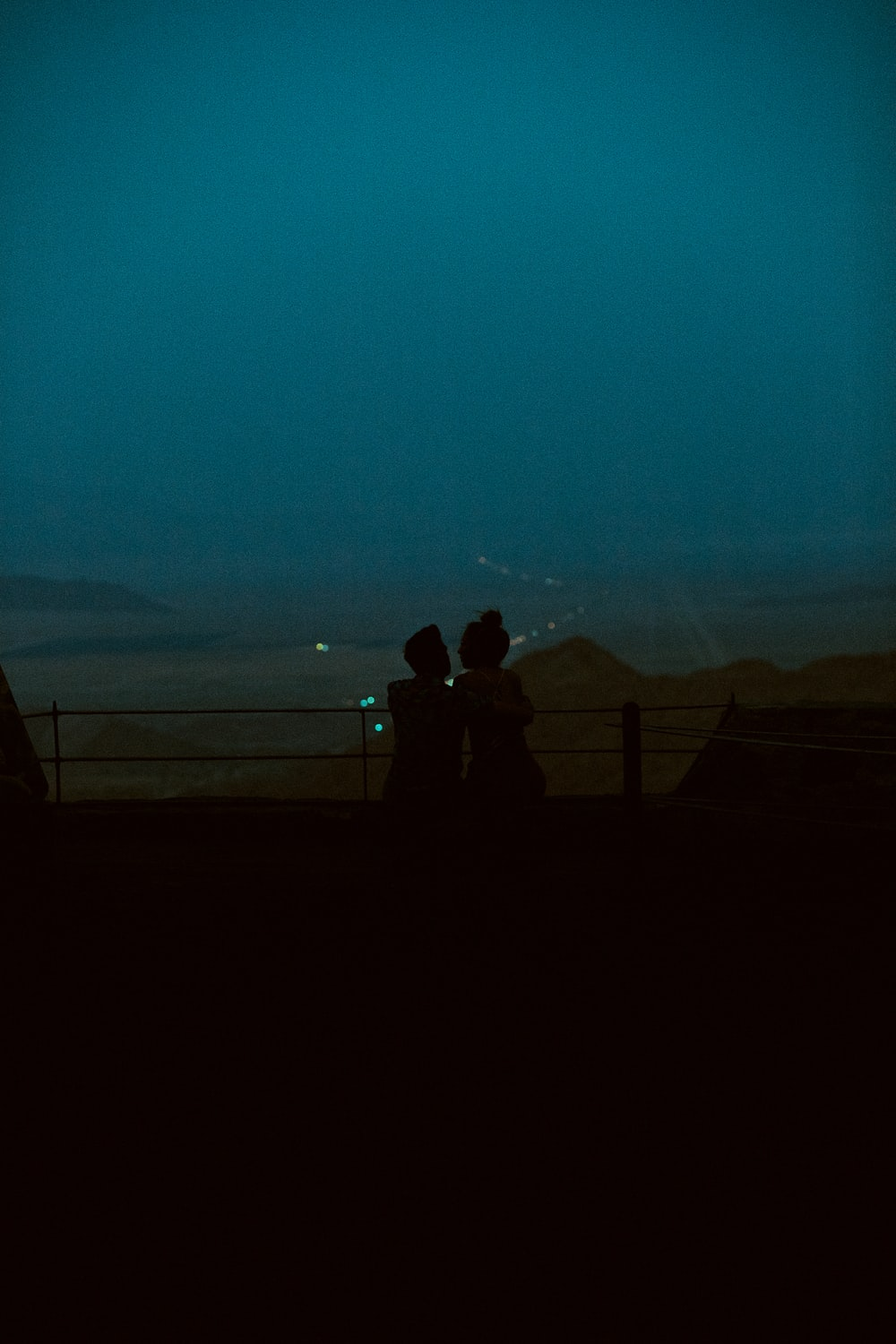 silhouette of 2 person standing on the fence during night time