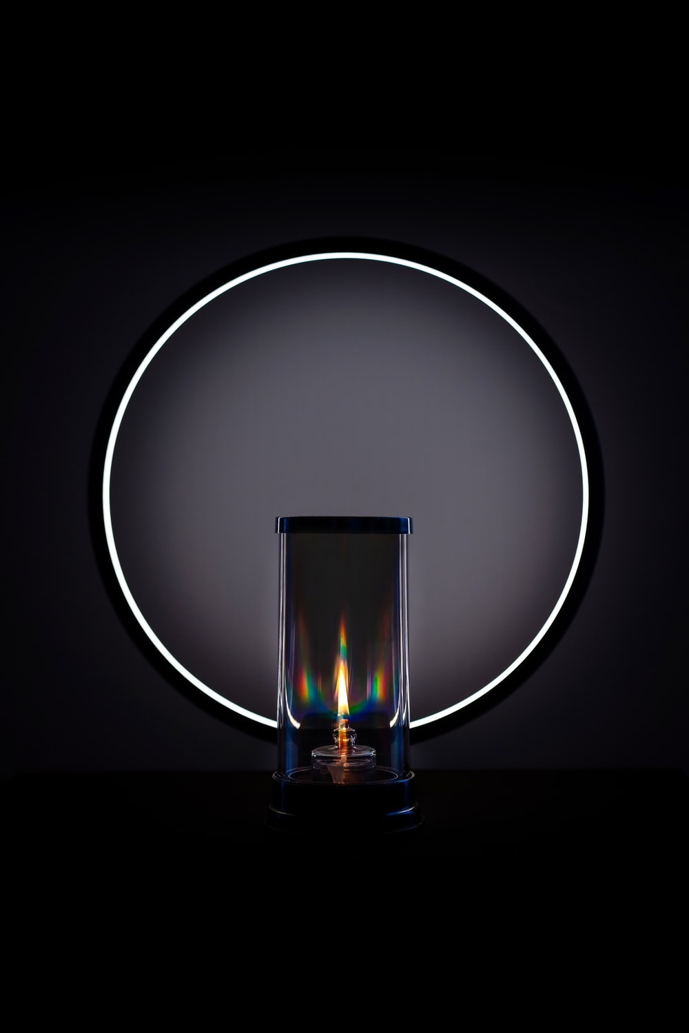 grey round frame with light