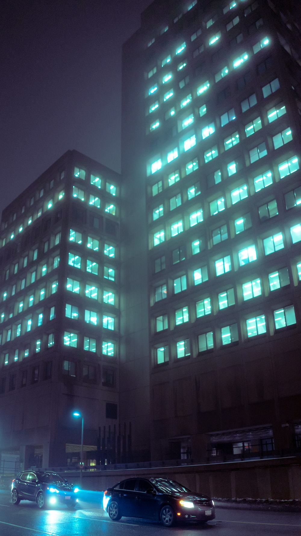 blue and white high rise building