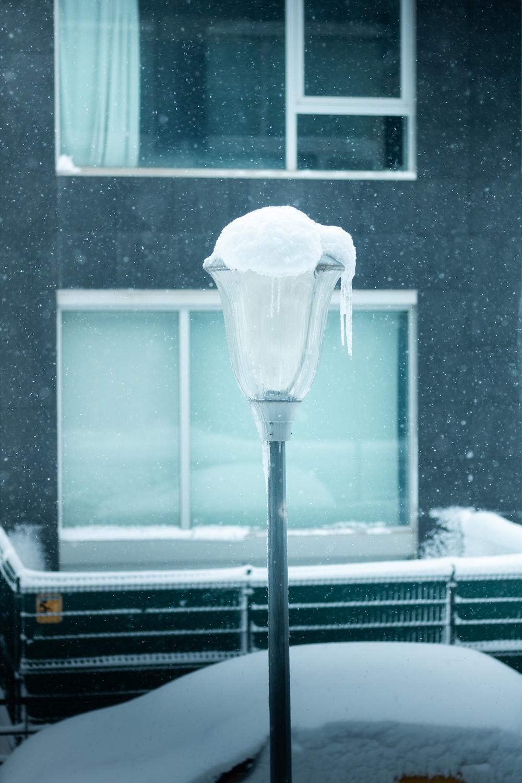 white ice on glass window