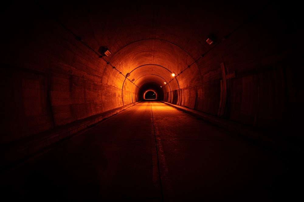 tunnel with light turned on during night time