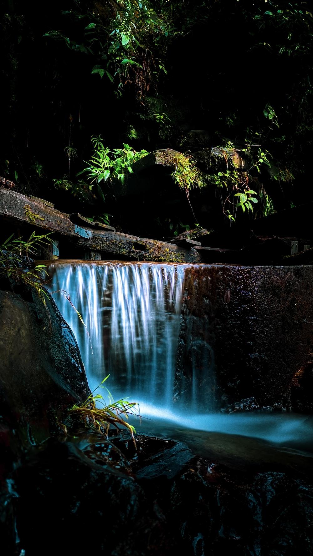 brown tree log on water falls