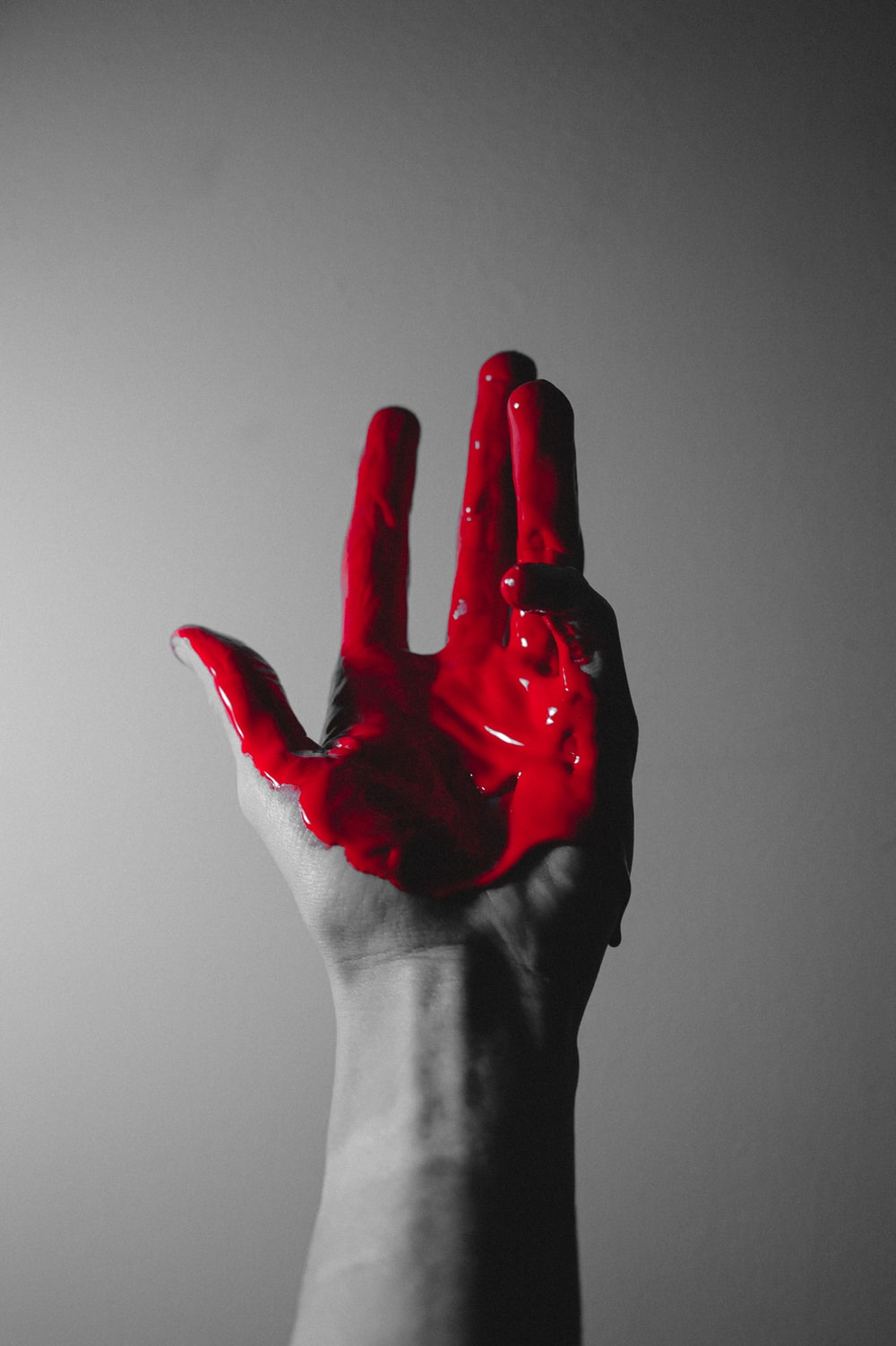 red hand paint on hand