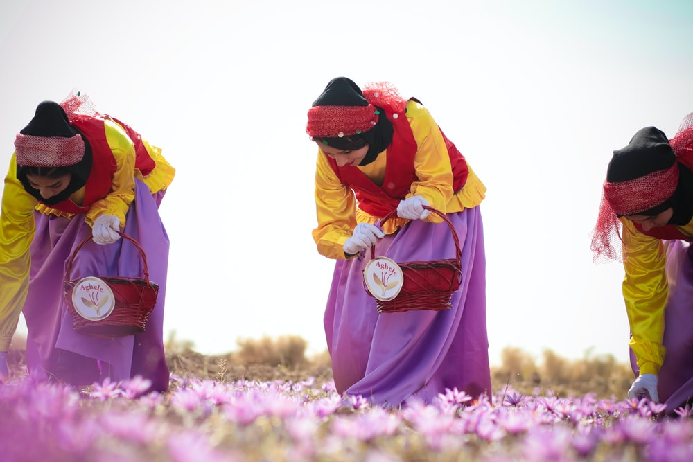woman in yellow and red dress standing on purple flower field during daytime