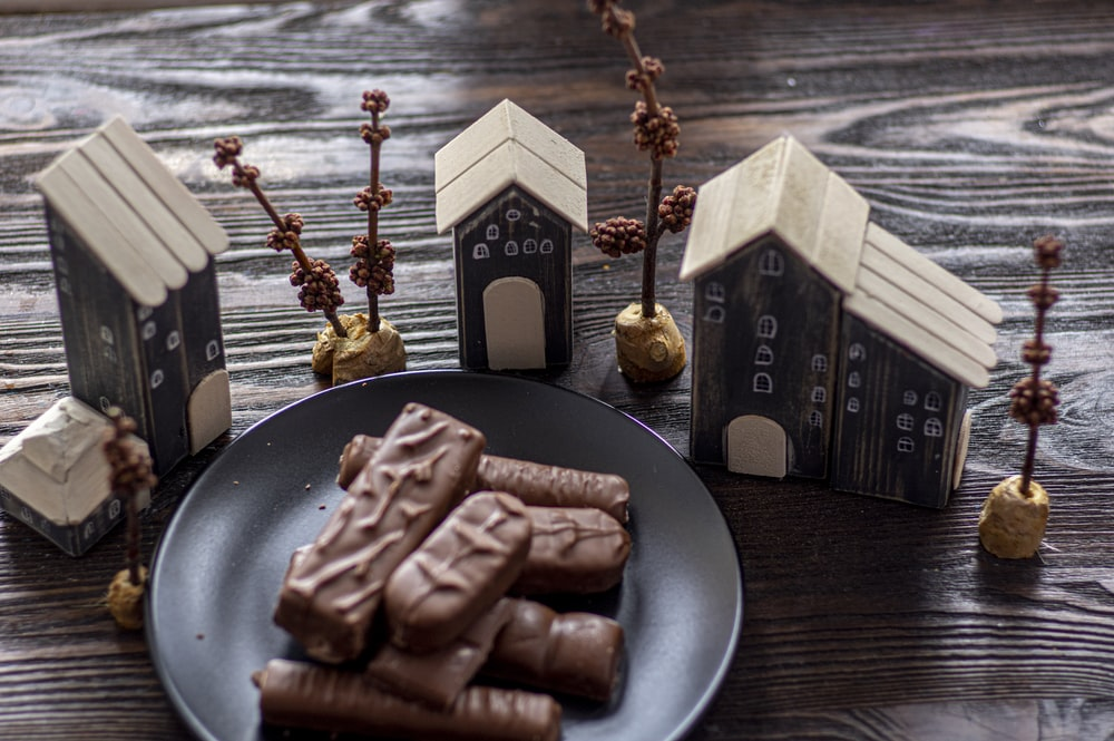 chocolate bar on black plate