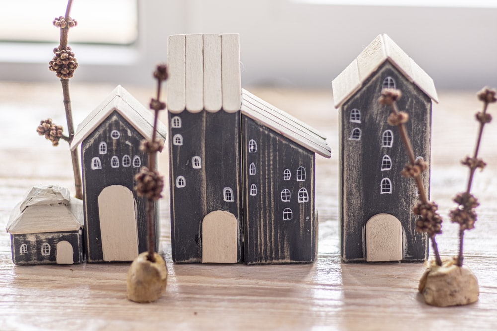 black and white wooden house miniature