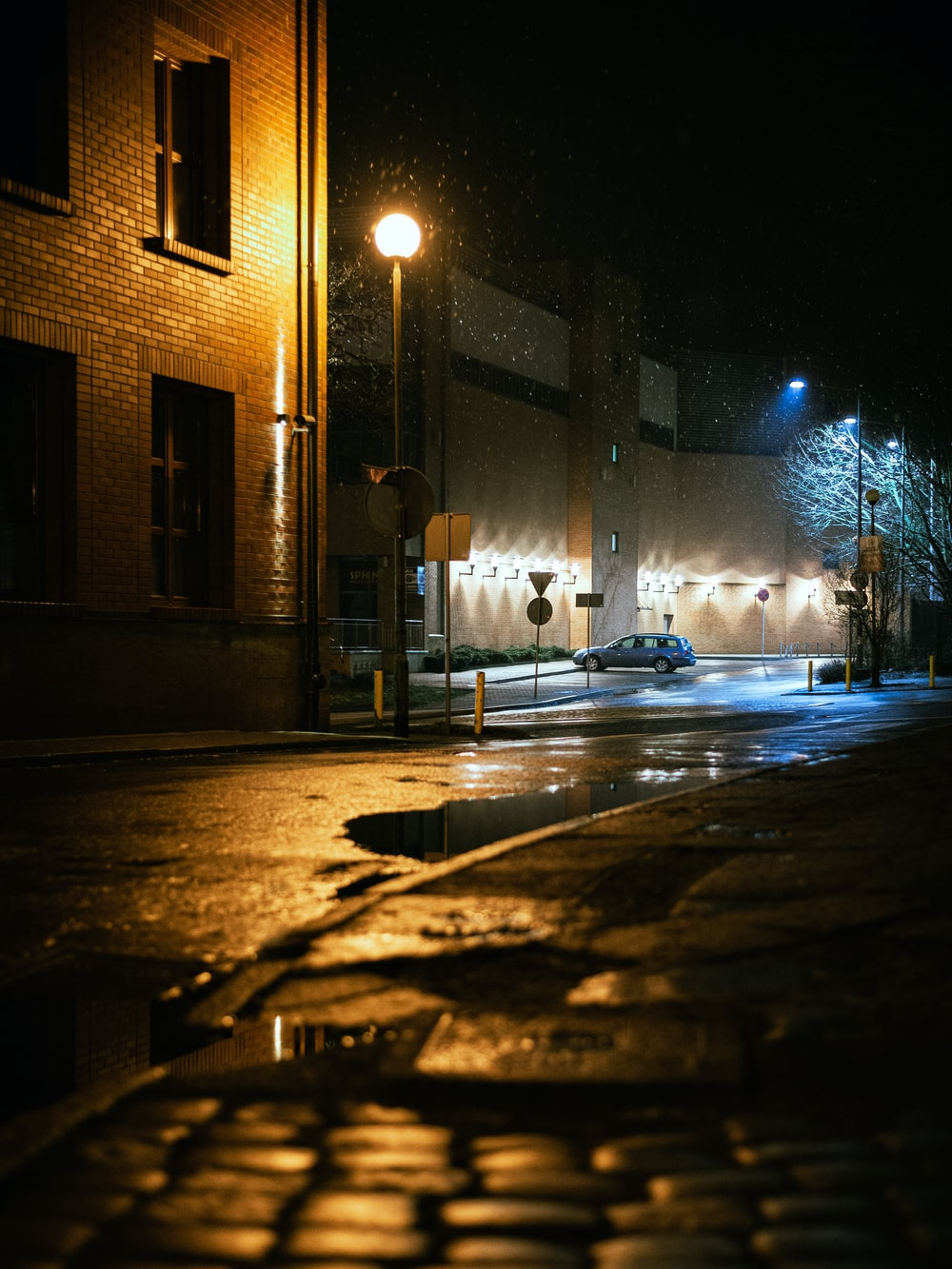 street lights turned on during night time