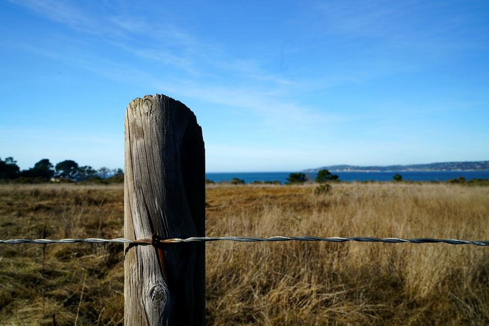 brown wooden fence on brown grass field under blue sky during daytime
