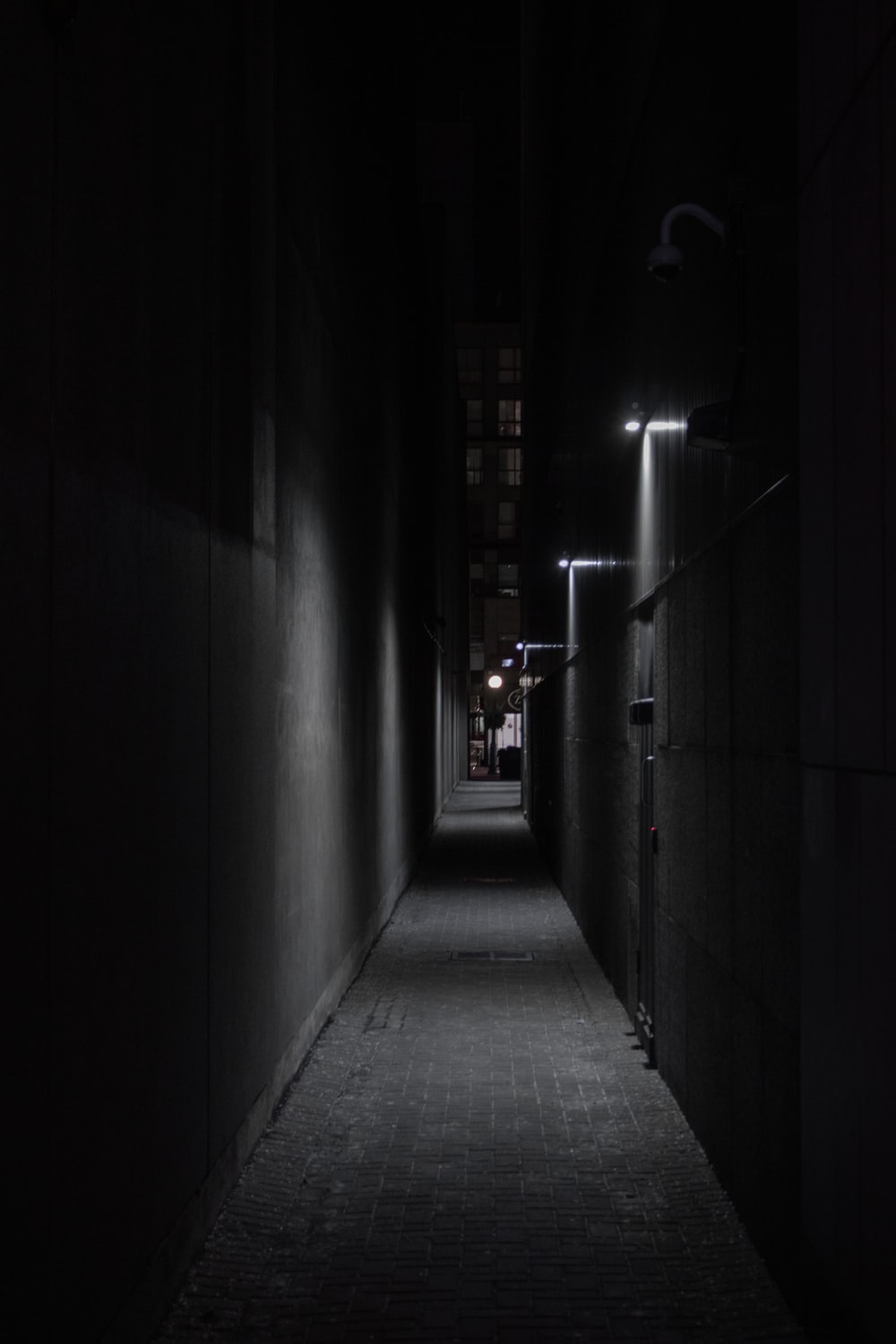 empty hallway with light turned on during night time
