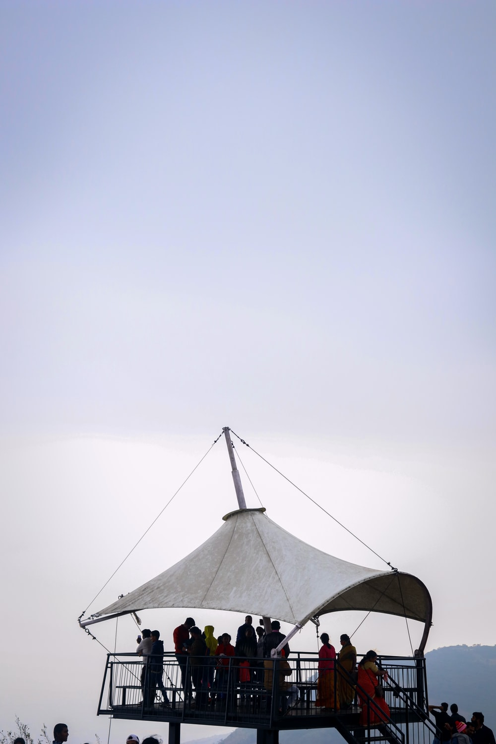 black and white tent under white sky
