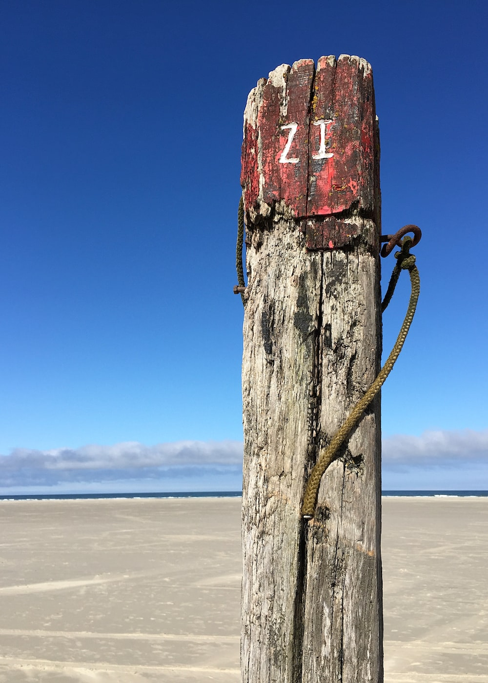 brown wooden post on beach during daytime