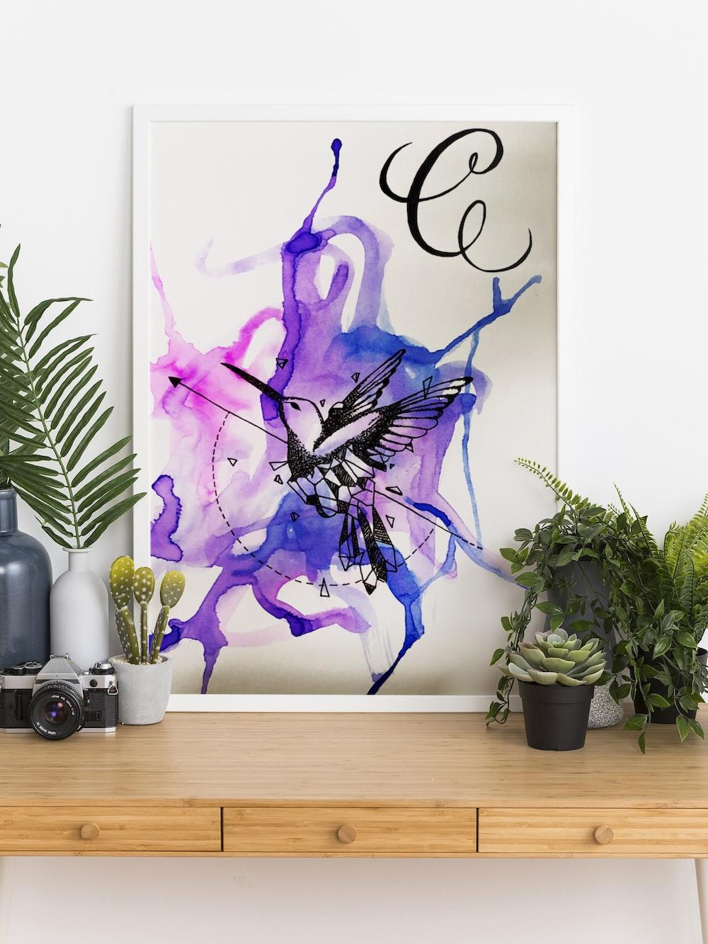 purple and black dragon illustration
