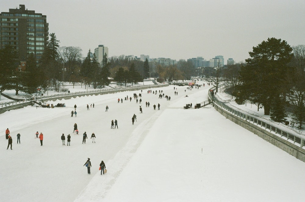 people walking on snow covered field during daytime