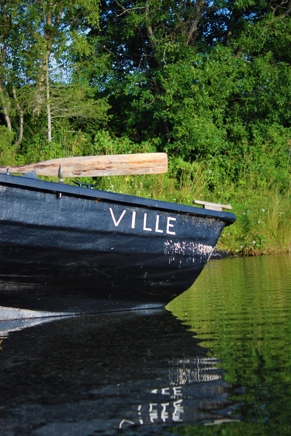 black and blue boat on lake dock during daytime