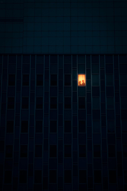 white light bulb turned on during nighttime