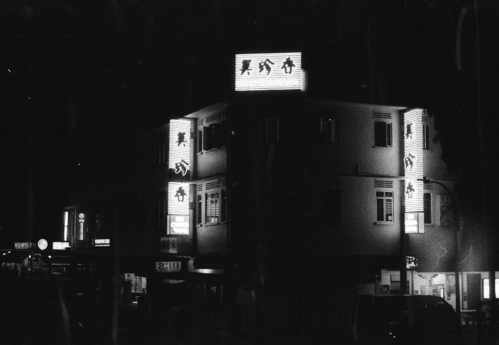 grayscale photo of building during night time