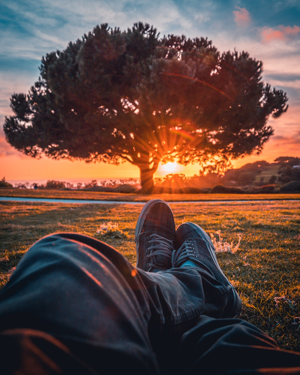 person in black pants and brown shoes sitting on grass field during sunset