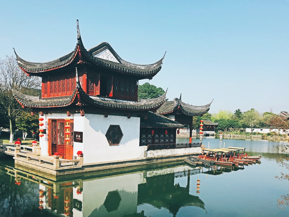 black and white temple near body of water during daytime