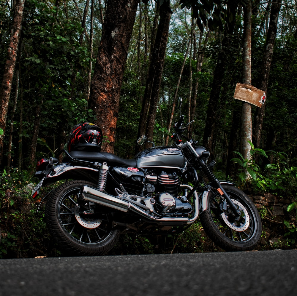 black and silver motorcycle in forest