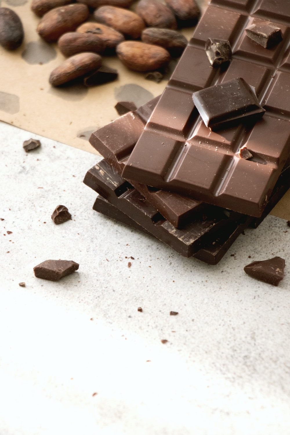 chocolate bars on white table
