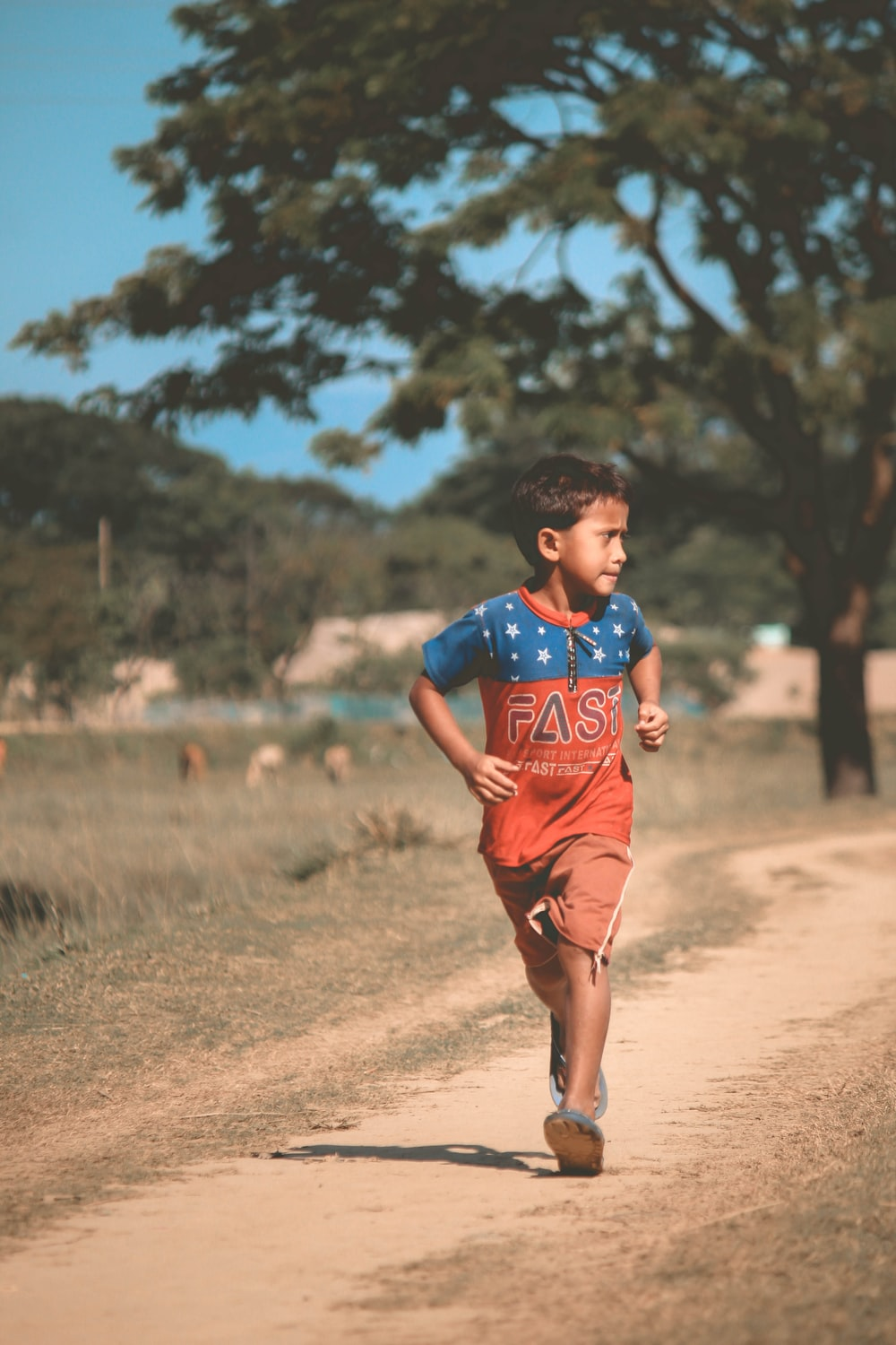 boy in blue and red jersey shirt and brown shorts running on brown field during daytime
