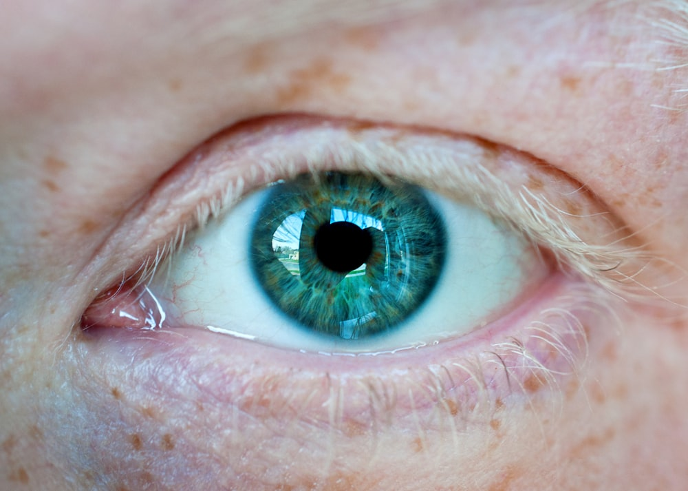 persons blue eye with green eyes