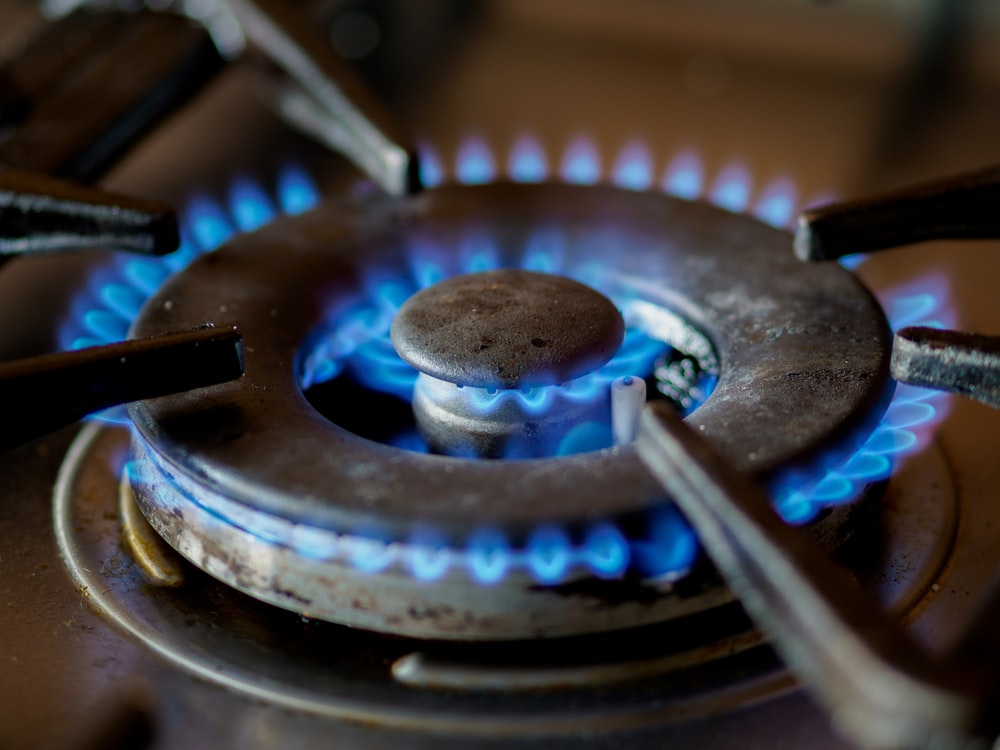 blue and black gas stove