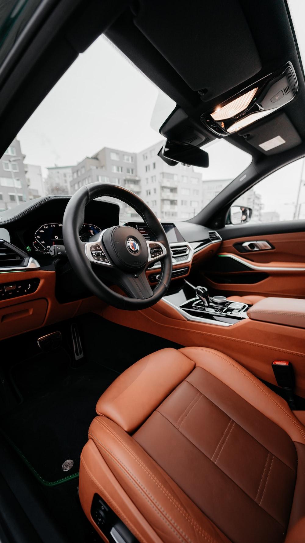 black and orange car interior