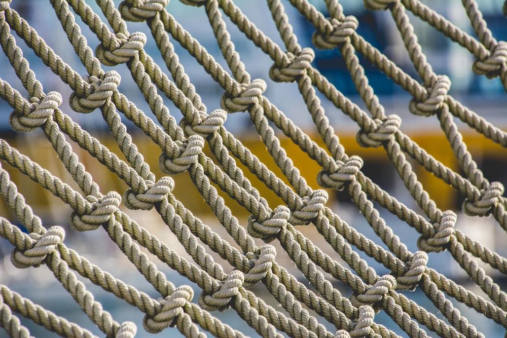 brown rope on black background