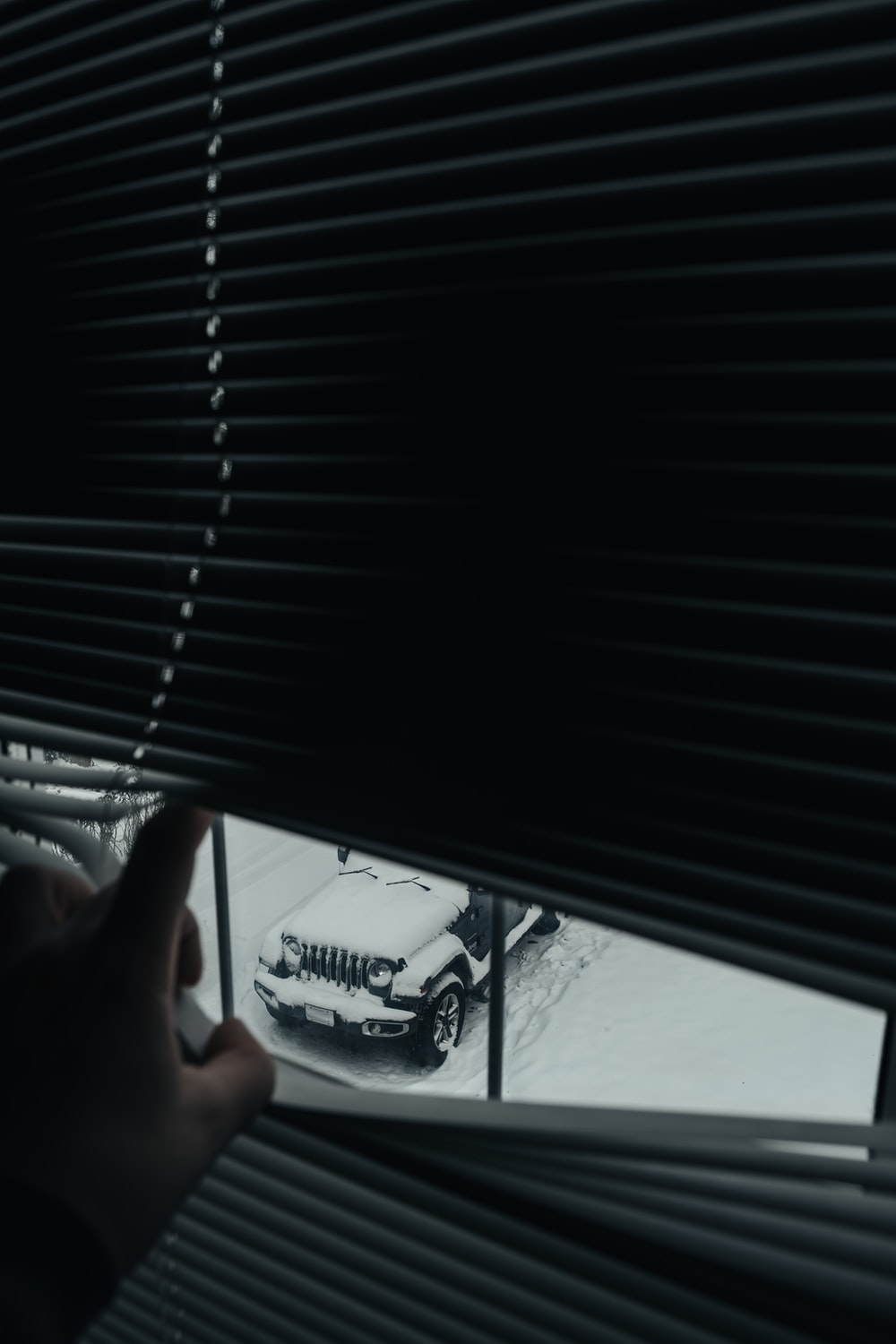 person holding black window blinds
