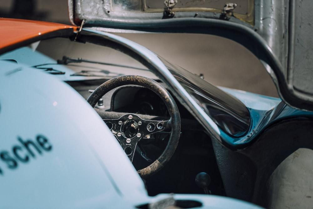 black and white steering wheel