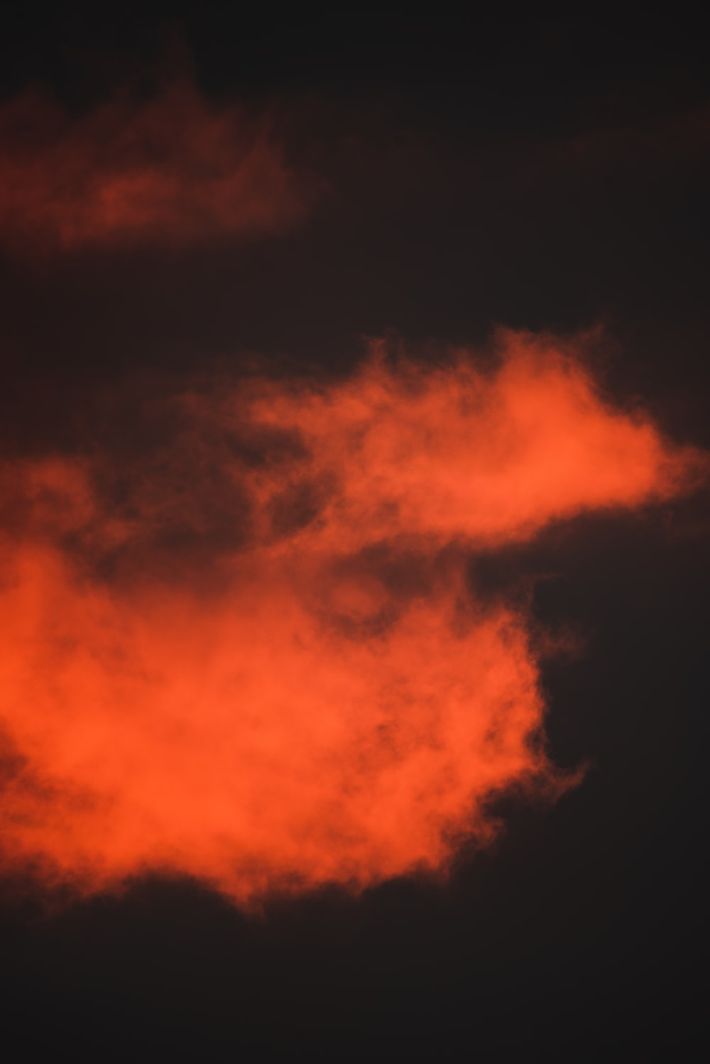 orange and black clouds during night time