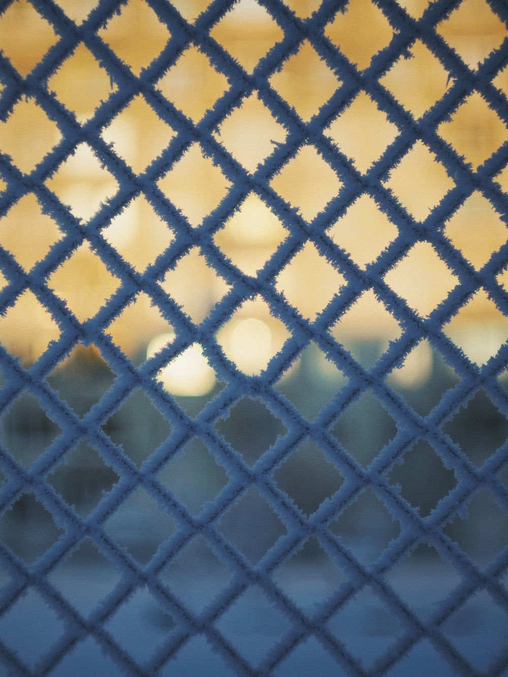 blue and white metal screen