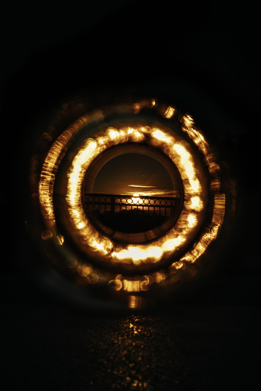 brown spiral light in dark room