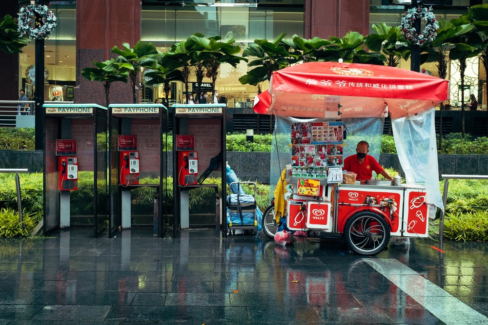 red and white food cart
