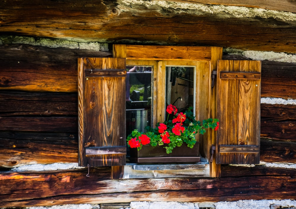 brown wooden door with pink and red flowers