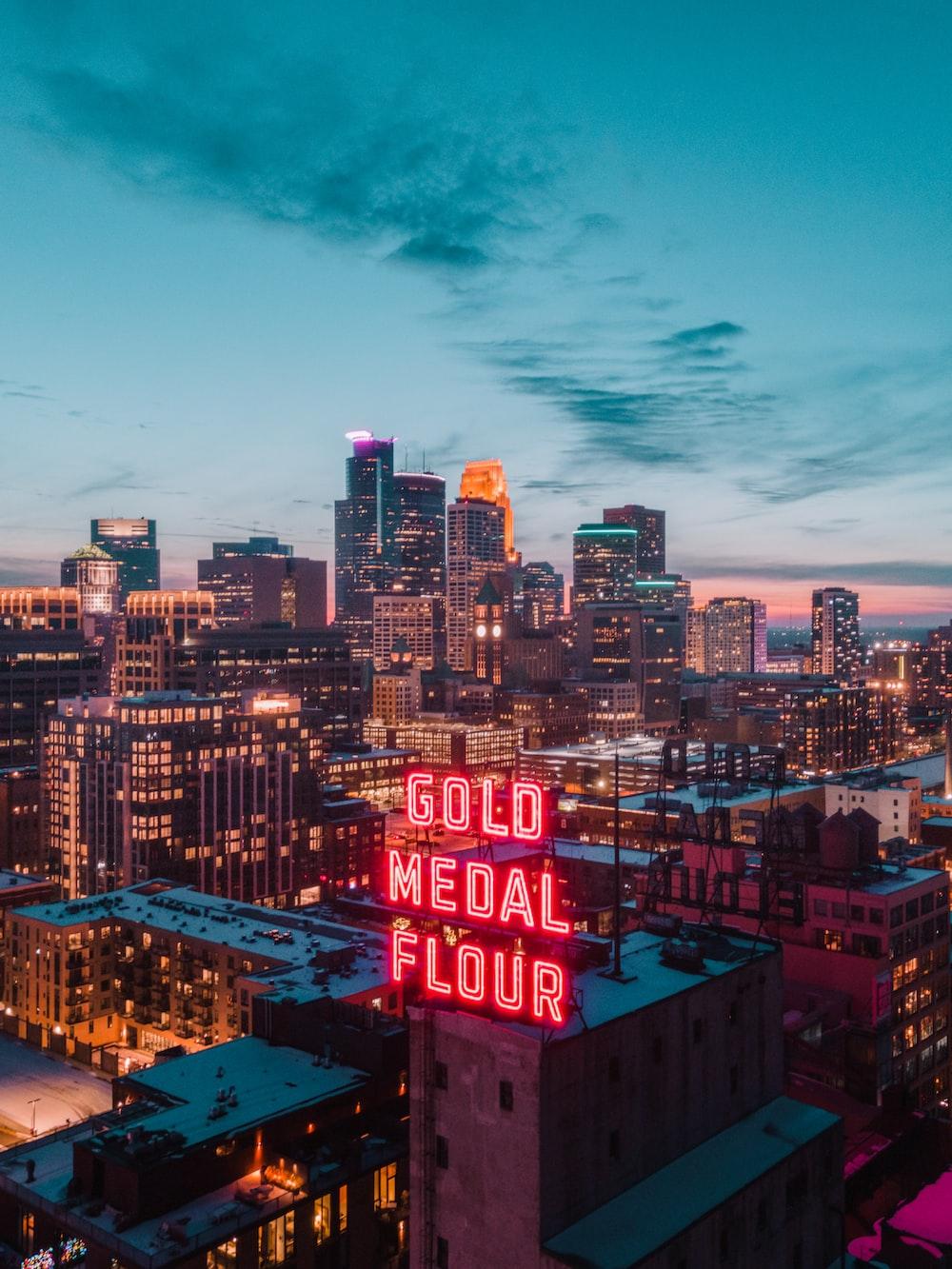 city skyline under blue sky during night time